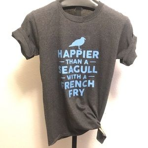 Happier than seagull French fry T-shirt small